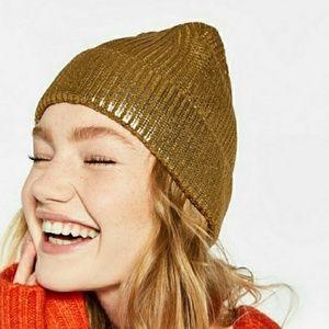 Zara Metallic Gold Beanie